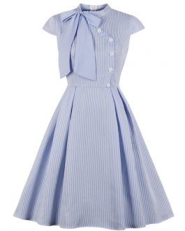 Knotted Short Sleeves Stripes Rockabilly Dress