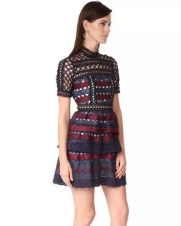 Lace O Neck Slim Short Party Dress