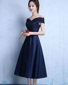 Lace Off The Shoulder Prom Satin Tea Length wedding guest dress