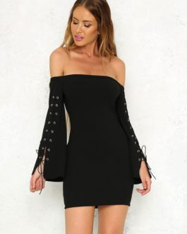 Lace Up Long Sleeves Pencil Bodycon Dress
