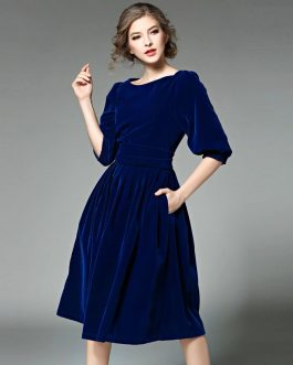 Lantern Sleeve Slash neck elegant Velvet party dress