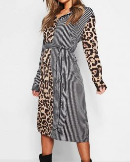 Leopard Patchwork Long Party Dress