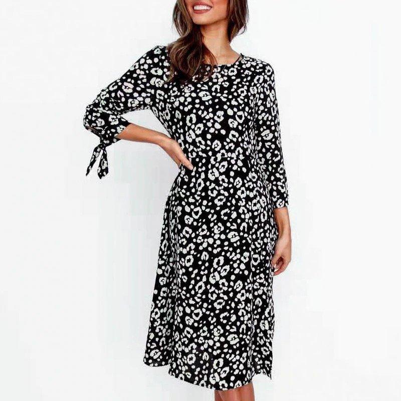 Leopard Print Elegant Bow Plus Size Dress