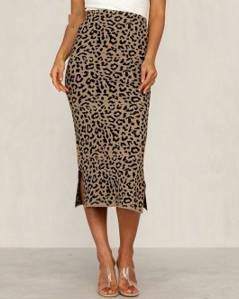 Leopard Print Knitted Midi Skirt