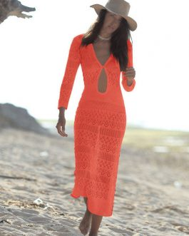 Long Beach Cover Up Cut Out Knit Dress