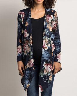 Long Sleeve Floral Printed Cardigan Sweater