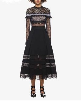 Long Sleeve Patchwork Lace Long Party Dresses