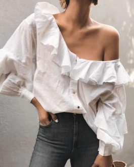 Long Sleeve Sexy Ruffle Shoulder Shirts
