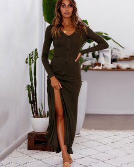 Long Sleeve V Neck Buttons Maxi Dresses