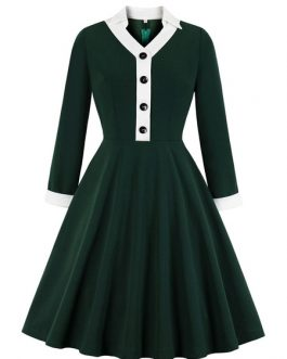Long Sleeves V Neck Rockabilly Dress