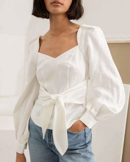 Long sleeve vintage blouse shirt tops