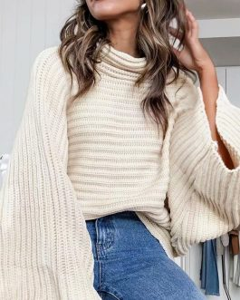 Casual Loose Oversize Striped Street-wear turtleneck knitted sweater