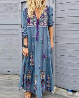 New Boho Floral Print Long Sleeve Plus Size Long Maxi Dress