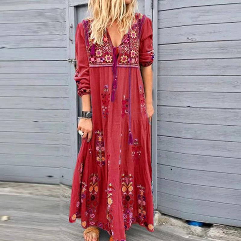 New Boho Floral Print Long Sleeve Plus Size Long Maxi Dress