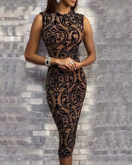 New Fashion O-Neck Sleeveless Floral Print Bodycon Dress