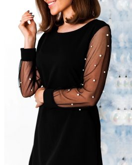O Neck Elegant Pearls Beading Long Sleeve Mini Party Dress