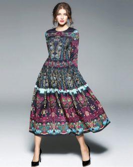 O-Neck Full sleeve Mid-Calf Maxi Dresses