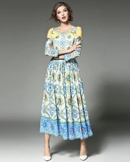 O-neck Sweet A-Line Maxi Dress