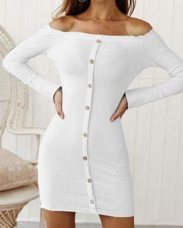 Off Shoulder Buttons Bodycon Dress