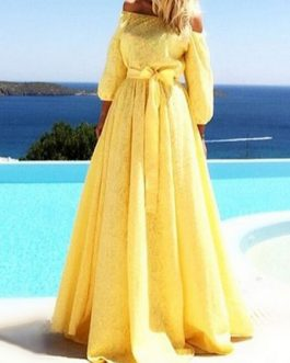 Off The Shoulder Bow Sash Long Dress