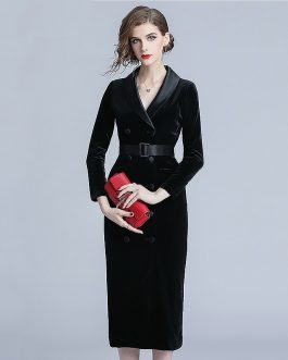 Office lady Velvet bodycon midi dress