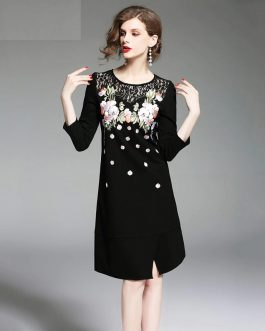 Office lady elegant Cotton short dress