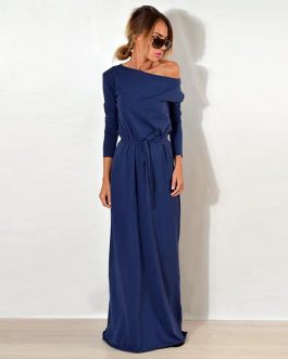 One Shoulder Long Sleeve Elegant Maxi Dress