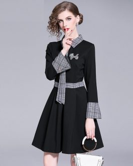 Plaid evening party Vintage casual mini dress