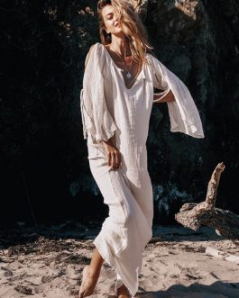 Plunging Boho Knotted Cold Shoulder Dress