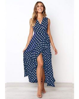 Plus Size Dot Sleeveless V Neck Ruffles Dress