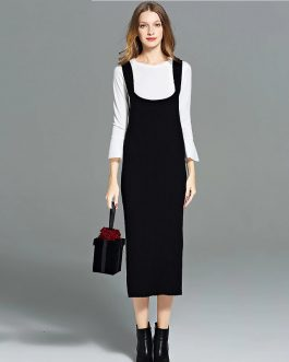 Plus Size Elegant Spaghetti Strap office Lady Casual long dress