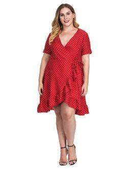 Plus Size Ruffles Dot Elegant Sexy Short Dress