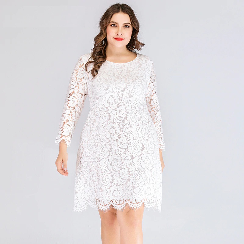 Plus Size Elegant Evening Party Short Lace Dress