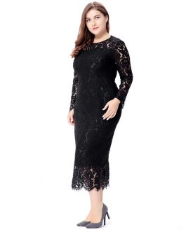 Plus size Elegant lace bodycon party dress