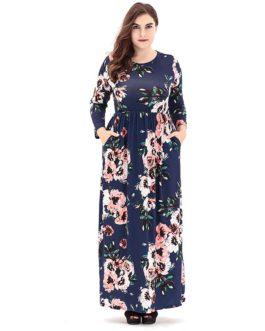 Plus size Elegant printed long maxi Dress
