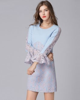 Plus size Lace Patchwork Flare Sleeve short Dress