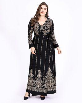 Plus size Vintage vestidos long maxi dress