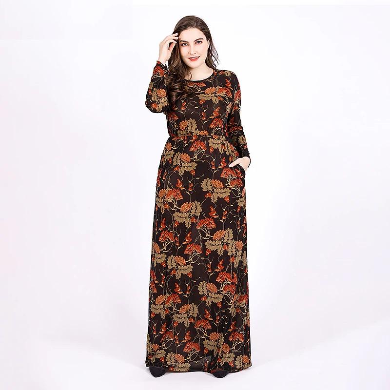 Plus size Vintage vestidos maxi long dress