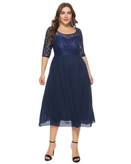 Plus size casual party midi dress