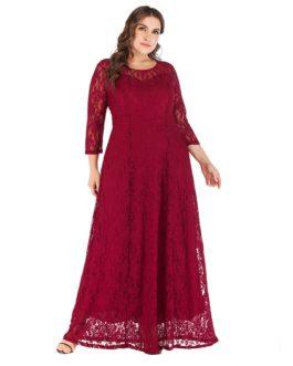 Plus size lace evening Party vestidos long maxi dress