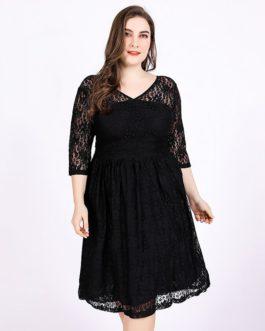 Plus size lace office lady vestidos party dress
