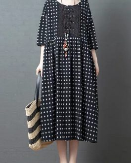 Polka Dot Lace Patchwork 3/4 Sleeve Maxi Dress