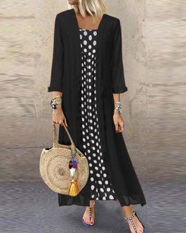 Polka Dot Print O Neck Long Sleeve Plus Size Maxi Dress