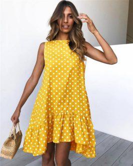 Polka Dot Ruffles O Neck Sexy Dress