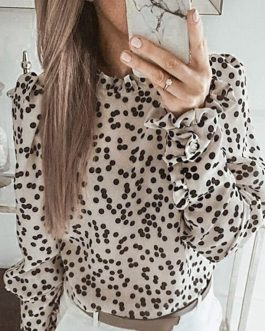 Polka Dot Vintage Turtleneck Puff Long Sleeve Top