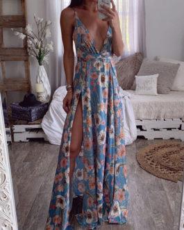 Print Backless Sleeveless Split Dress
