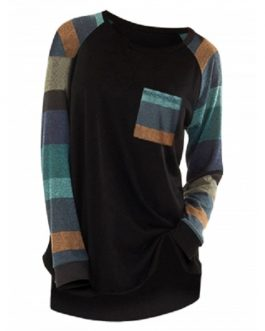 Raglan Sleeve Striped Pocket Long line T-shirt