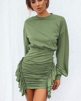 Ruched Jewel Neck Bodycon Dress
