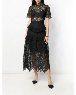 Ruffles Embroidery Long Party Dress