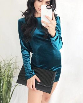 Sexy Backless Cross Bandage Velvet O-neck Bodycon Dress